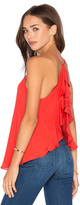 Haute Hippie Flyaway Ruffle V Neck Top