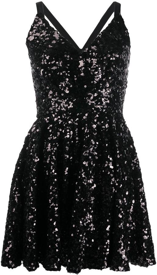 Dolce & Gabbana V-neck sequinned mini dress