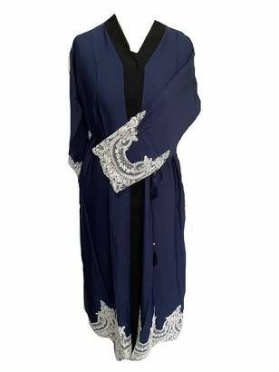 SHI Boutique L13 Ladies Dubai Nida Open White Lace Abaya Kimono Maxi Belt in Navy Sizes 52-60 (Size 56)