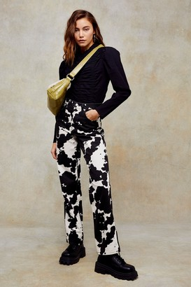 Topshop Womens Considered Cow Print 90S Straight Jeans - Brown