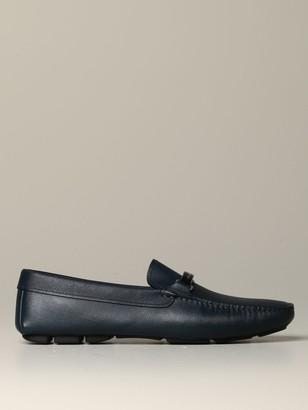 Prada Label Moccasin In Saffiano Leather