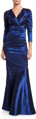 Rickie Freeman For Teri Jon V-Neck 3/4-Sleeve Taffeta Trumpet Gown