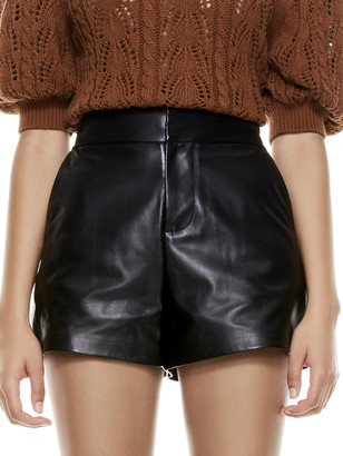 Alice + Olivia Cady High Waisted Leather Short