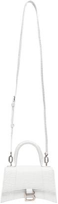 Balenciaga XS Hourglass Top Handle Bag in White | FWRD