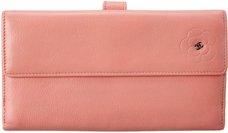 Chanel Pink Lambskin Leather Camellia Wallet