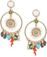Betsey Johnson Gold-Tone Multi-Charm Drop Earrings