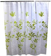 Nikuya 180180cm Fashion Green Butterfly Thick Waterproof Bathroom Shower Curtain