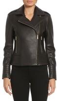 Badgley Mischka Women's Gia Leather Biker Jacket