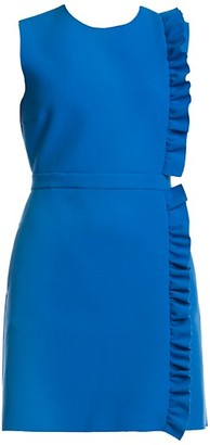MSGM Sleeveless Side Ruffle Crepe Mini Dress
