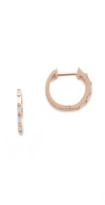 Shay 18k Rose Gold Mini Baguette Diamond Huggie Earrings