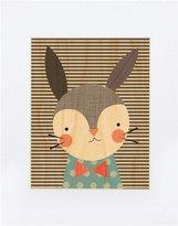 Petit Collage Small Unframed Print on Wood- Dapper Rabbit