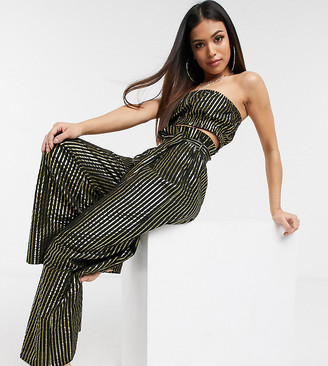 ASOS DESIGN petite metallic paper bag waist belted beach trouser co-ord in black and gold