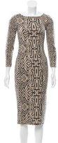 Oscar de la Renta Ikat Patterned Midi Dress
