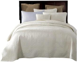 Tache Home Fashion Tache Powder Snow 100% Cotton Solid White Quilt Bedspread Set, Califor