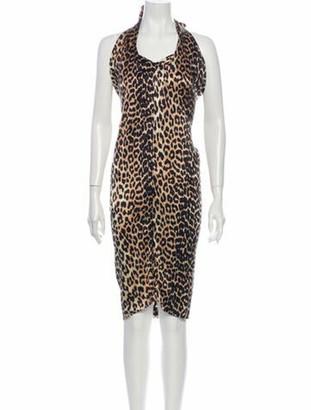 Ganni Silk Knee-Length Dress Brown