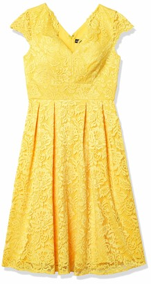Chetta B Women's Extended Cap Sleeve Lace Full Skirt Dress with Sweetheart Neck Yellow