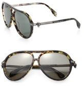 Alexander McQueen 59MM Tortoise Aviator Sunglasses