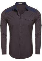 HOTOUCH Men's Long Sleeve Dress shirts Black L