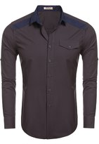 HOTOUCH Men's Long Sleeve Dress Shirts Western Shirt Lake Blue S