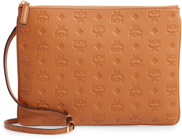 MCM Klara Monogram Calfskin Leather Crossbody Pouch