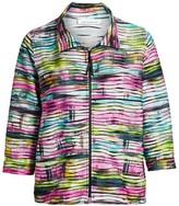 Caroline Rose Fresh & Flirty Tie-Dye Zip-Front Knit Jacket