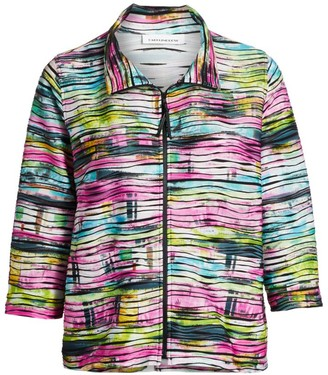 Caroline Rose Fresh & Flirty Tie-Dye Zip-Front Knit Jacket