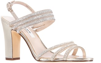 Nina Adjustable Block Heel Satin Sandals - Shandra