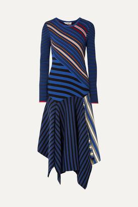 Opening Ceremony Asymmetric Striped Cotton-blend Midi Dress - Blue
