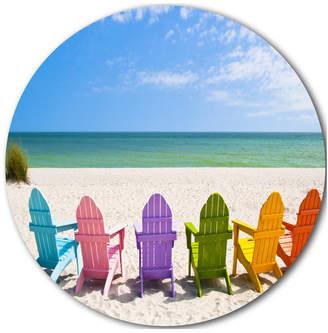 "Adirondack Design Art Usa Beach Chairs, Seashore Photo Disc Metal Wall Art, 23"""
