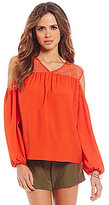 Gianni Bini Zendaya V-Neck Cold-Shoulder Long Sleeve Solid Blouse