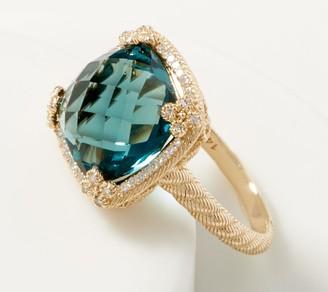 Judith Ripka 14K Teal Blue Flourite & Diamond Ring, 8.00 cttw