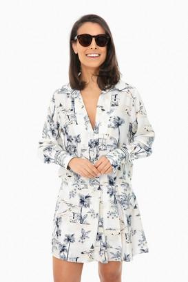 Frame Navy Multi Toile Mix Dress