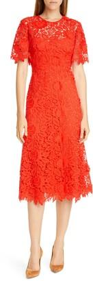 Lela Rose Flutter Sleeve Lace Midi Dress