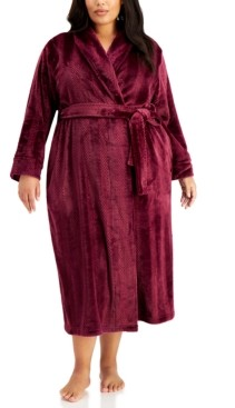 Charter Club Plus Size Long Stripe Textured Cozy Robe, Created for Macy's