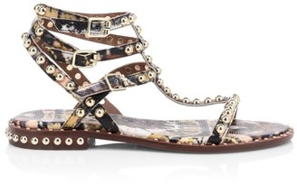 Ash Play Studded Python-Embossed Leather Gladiator Sandals