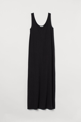H&M Cotton-blend Jersey Dress - Black