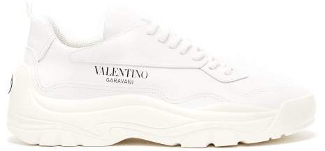 Valentino Gumboy Chunky Leather Trainers - Womens - White