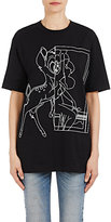 Givenchy Women's Distressed Cotton Logo T-Shirt-Black