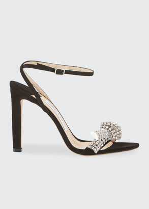 Jimmy Choo Thyra 100mm Suede Sandals With Crystal Knot