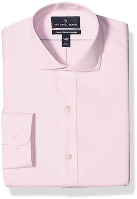 Buttoned Down Classic Fit Cutaway Collar Solid Non-Iron Dress Shirt Light Pink/No Pockets 15 Inches Neck 33 Inches Sleeve