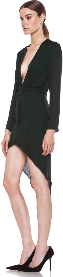 Jenni Kayne Plunge Silk Dress in Emerald