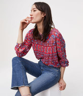 LOFT Petite Modern Frayed Flare Crop Jeans in Vintage Indigo Wash