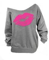 muju Women Sweatshirts Sexy Lips Print Pullover