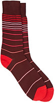 Paul Smith Men's Gradient-Striped Mid-Calf Socks-RED