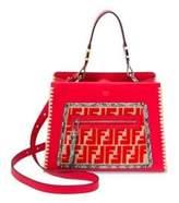 Fendi Small Runaway Raffia & Leather Logo Satchel