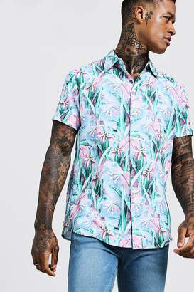 boohoo Painted Floral Print Short Sleeve Shirt