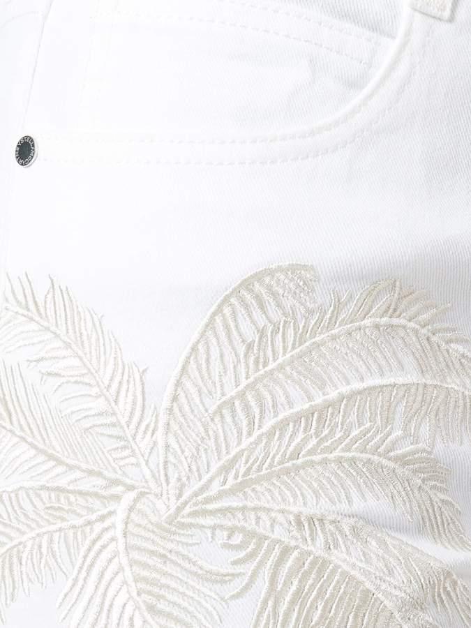 Stella McCartney Skinny Boyfriend embroidered palm jeans