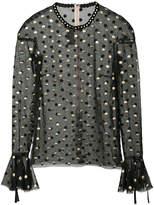 Monique Lhuillier polka dot sheer blouse