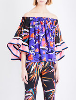 Emilio Pucci Printed off-the-shoulder silk top