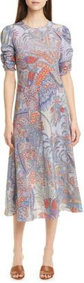 Etro Paisley Print Silk A-Line Midi Dress